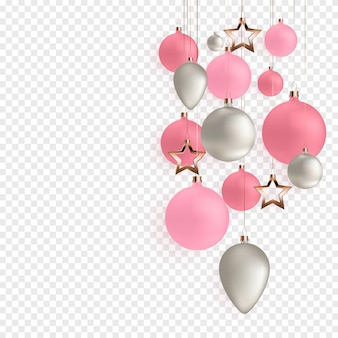 3d christmas balls for holiday new year design on transparent