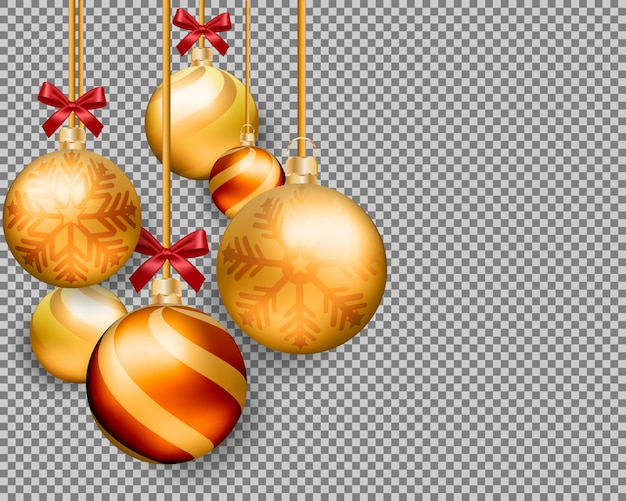 3d christmas gold balls isolated on transparent background.