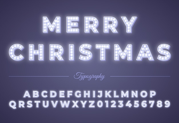 3d christmas light bulb alphabet. winter xmas or new year party celebration. retro glowing font. vintage typography
