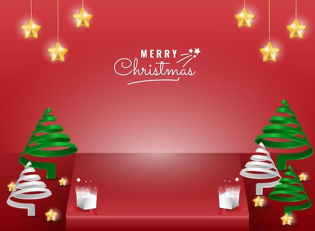 나선형 나무와 스파클 스타 요소가 있는 3d 크리스마스 무대 배너 템플릿