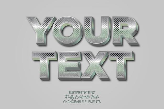 3d chrome metal text effect graphic style