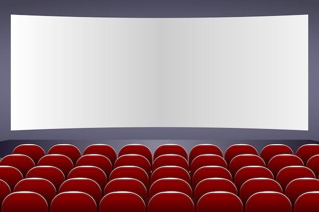 スクリーンと赤い座席のある3dシネマ講堂
