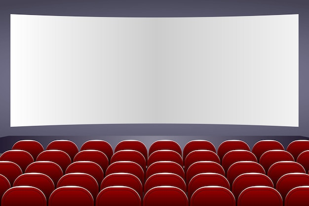 3d cinema auditorium with screen and red seats
