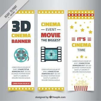 Banner cinema 3d con elementi del cinema