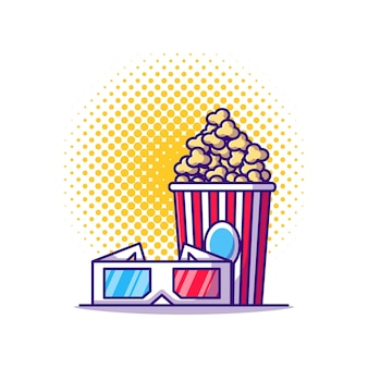 3dシネマグラスとポップコーンの漫画イラスト。シネマアイコンコンセプトホワイトアイソレート。フラット漫画スタイル