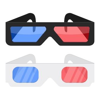 흰색 배경에 고립 된 3d 시네마 안경 아이콘 영화에 대 한 흑백 3d 시네마 안경을 디자인 합니다.