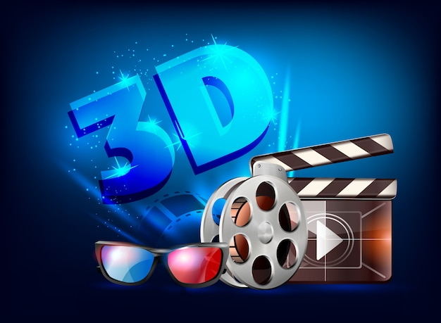 3d cinema poster design.