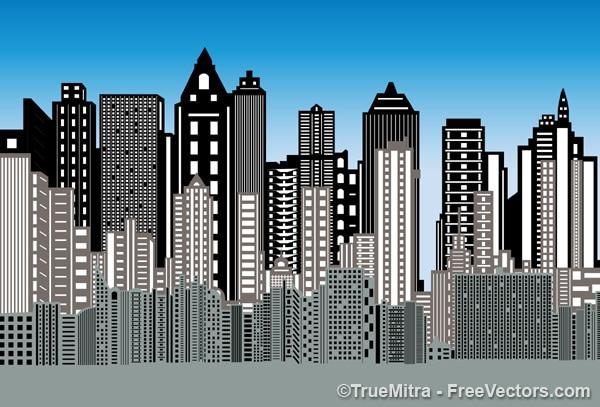3d city buildings background