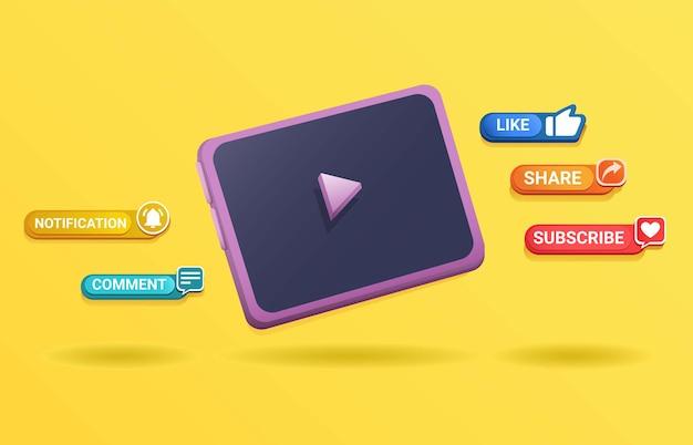 채널 스트리밍 비디오 벡터에 대한 팝업 메시지 구독 기호가 있는 3d 클레이 태블릿 장치