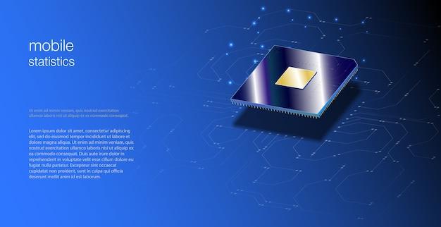 ウェブデザインのためのcpuの3dクローズアップ。統合通信プロセッサ。