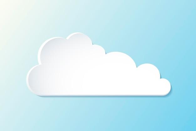 Elemento nuvola 3d, simpatico vettore di clipart meteo su sfondo blu sfumato