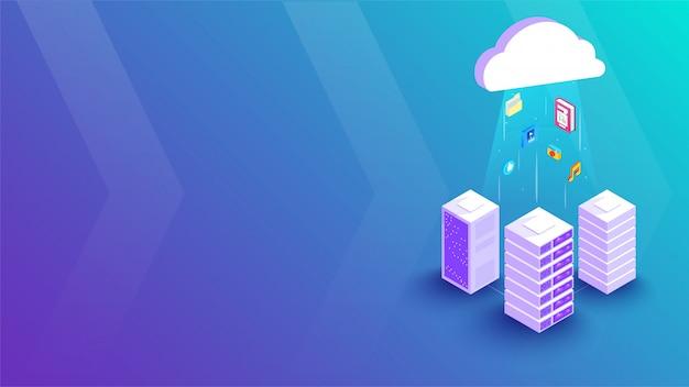 3d cloud server connection banner
