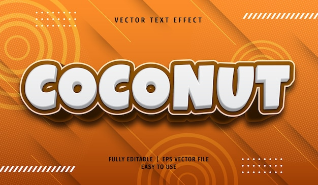 Эффект 3d кокосового текста, редактируемый текстовый стиль