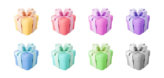 3d color gift boxes set with pastel ribbon bow isolated on a white background. 3d render flying modern holiday closed surprise box. realistic vector icon for present, birthday or wedding banners.