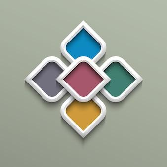 아랍어 스타일의 3d 컬러 패턴