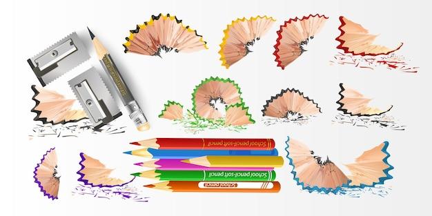 3d цветные школьные принадлежности с точилкой и стружкой