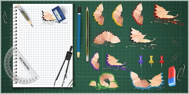 鉛筆削りと削りくずを備えた3dカラーのスクールステーショナリー