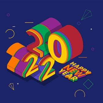 파란색 배경에 3d 다채로운 2022 새해 복 많이 받으세요 텍스트입니다.
