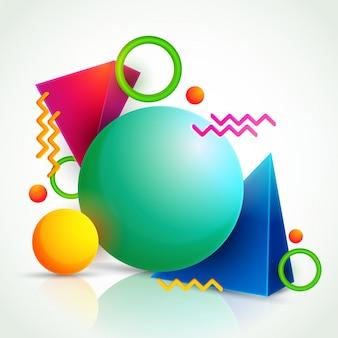 3d красочные абстрактные геометрические элементы.