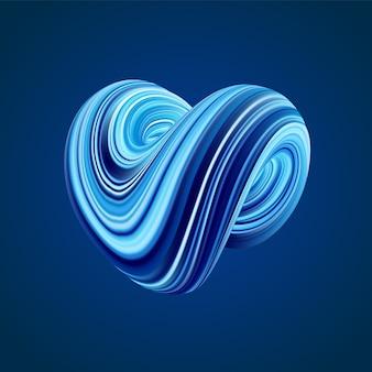3d красочные абстрактные витой формы флюида на синем
