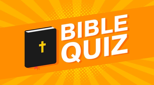 3d colorful bible quiz text on pop art rays background. vector illustration
