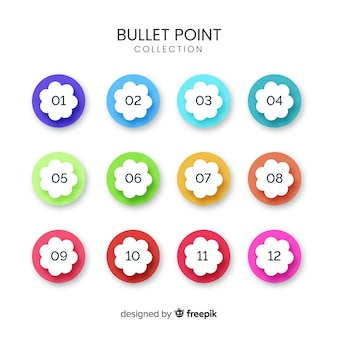 3d colorful bullet point collection