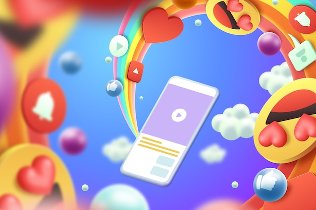 3d colorful emojis background style