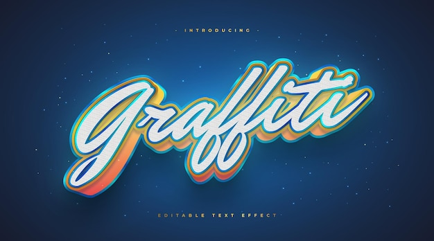 3d colorful graffiti text style with glowing effect. editable text effect
