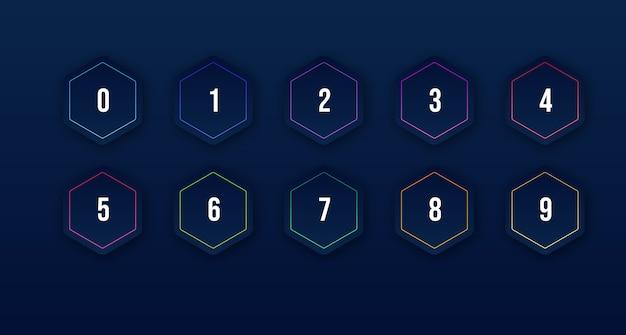 1에서 10까지의 숫자 글 머리 기호로 설정된 3d 다채로운 아이콘