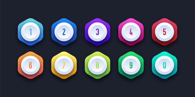3d colorful icon set with number bullet point