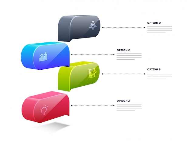 3d colorful infographic element box layout with 4 steps template
