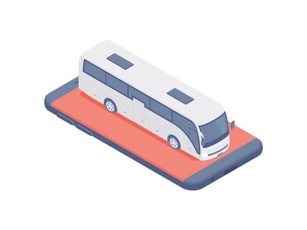 현대 여객 버스의 3d 다채로운 아이소 메트릭 그림