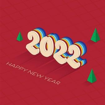 새 해 복 많이 받으세요 개념에 대 한 빨간색 배경에 크리스마스 나무와 3d 다채로운 레이어 2022 텍스트.