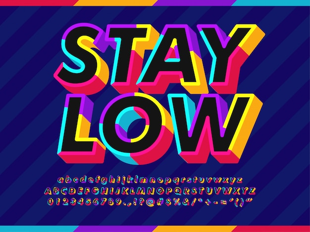 3d colorful outline text effect