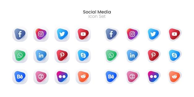 Insieme colorato dell'icona di media sociali 3d o raccolta del logotipo