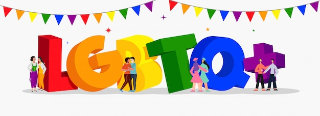 3d colorful text of lgbtq+  with gay and lesbian couples