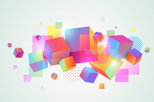 3d colourful layered geometric shapes for landing pages