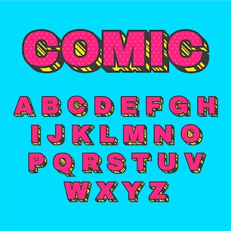 3d comic alphabet concept