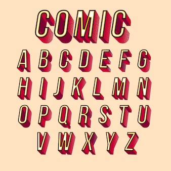 3d comic alphabet design