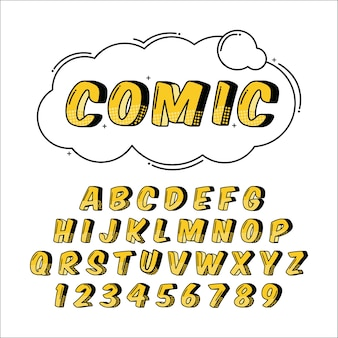 3d comic alphabet set