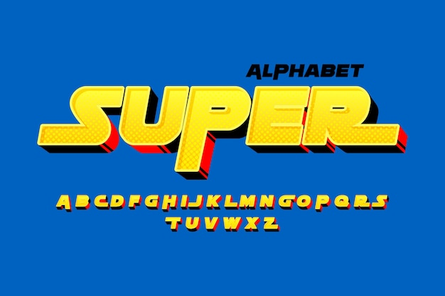 3d comic alphabet theme