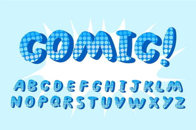 3d comic alphabet with exclamation mark