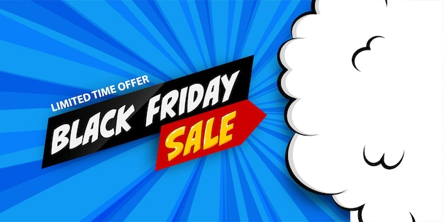3d comic book cartoon black friday sale banner. vector layout banner on halftone radial blue background. cartoon puff cloud for black friday design.