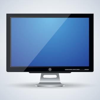 3d computer monitor realistic vector illustration