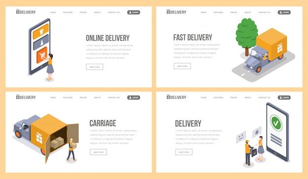 Служба доставки изометрические целевой страницы векторный набор шаблонов. интернет-магазин, покупка, электронная коммерция, сайт доставки посылок. курьерская служба, отгрузка товара до потребителя 3d concept