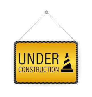 3d under construction vintage signboard