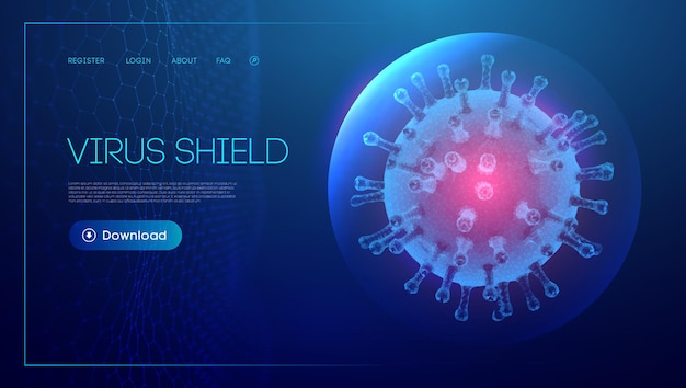 3d coronavirus with sphere shield. covid-19 vector illustration. adult vaccination eps 10.