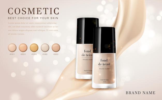 3d cosmetic make up illustration foundation product bottle with creamy shiny elegant