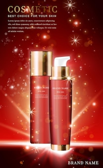 3d cosmetic product essence bottle with shiny red