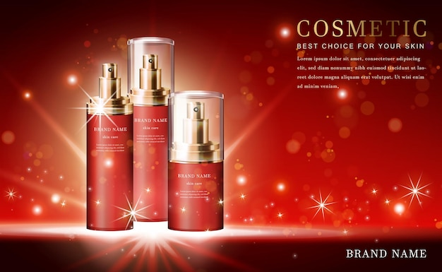 3d cosmetic product essence bottles with shiny red